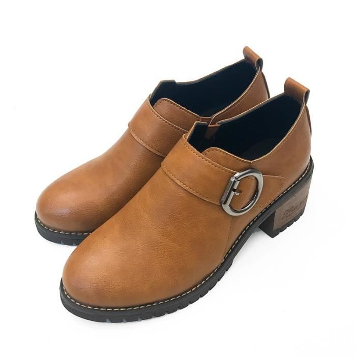 PU femmes bottillons 2017 bottes de moto couleur unie dames style classique chaussures chaudes bottes,marron,38