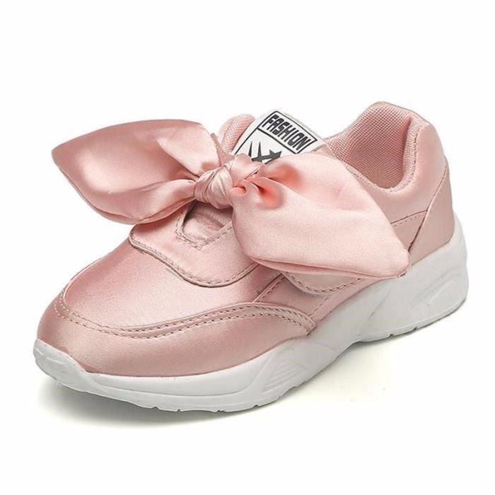 Baskets à lacets pour filles chaussures de sport d'arc de mode Princesse mignonne chaussures de sport occasionnels taille 26-36 jgEbG