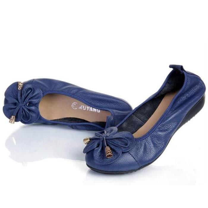 Chaussure Femme Cuir Printemps Été Comfortable Mode Chaussures BMMJ-XZ067Bleu38 0hhkBCQ4D