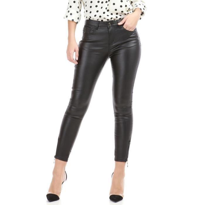 721156558f5a2 Pantalon slim noir ciré avec fermetures zippées aux chevilles-XS ...