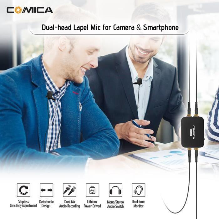 Comica Dual.lav-d03 Double-tête Lavalier Microphone Omnidirectionnel Condenseur Mic Pour Dslr Caméra Pc Smartphone