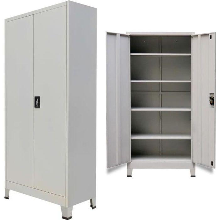 vidaxl armoire de bureau avec 2 portes acier 90 x 40 x 180 cm gris