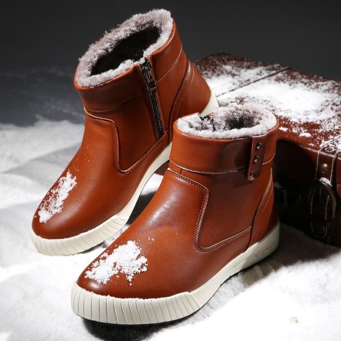 Bottes homme Bottes avec coton Bottes en cuir Bottes hiver Bottes mode Chaussures chaudement Chaussures montantes Chaussures