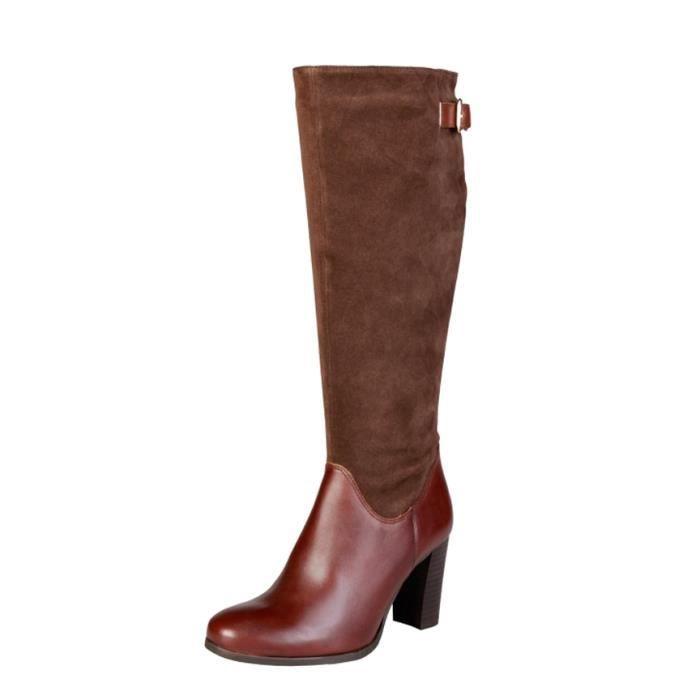 Pierre Cardin - 8060505 bottes en cuir marron talon -Hauteur: 8cm