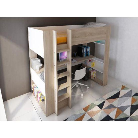 Design Bureau Noah.Lit Mezzanine Noah Avec Bureau Et Rangements Integres 90x200cm