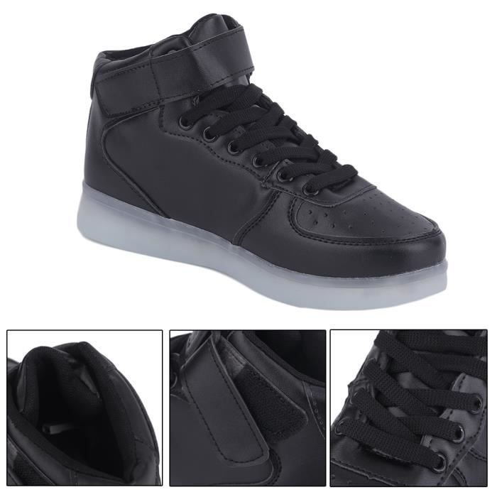 LED USB Shoes Sport Sneakers Lumineuses Chaussures Femme Fille Mode NOIR Taille:38