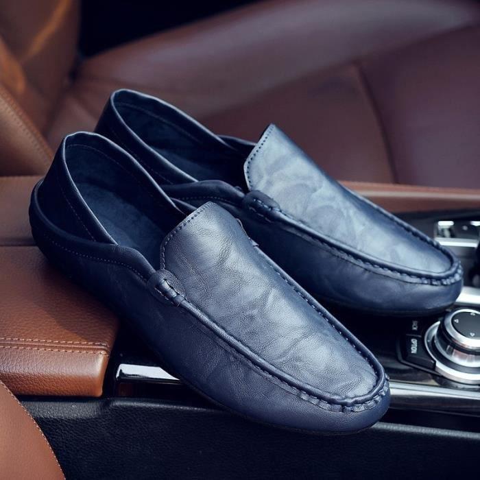 cuir véritable automne mâle mode semelle extérieure en cuir souple été mâle hommes pédale prélassait & # 39; chaussures bateau de