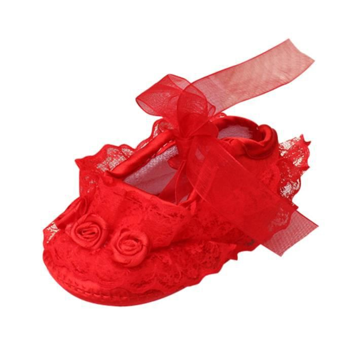 BOTTE Bébé Fille Dentelle Douce Dentelle Riband Anti-dérapant Décontracté Princesse Chaussures Toddler@RougeHM