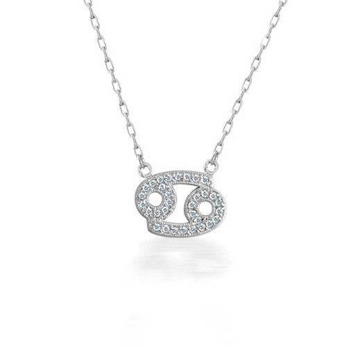 925 Argent Sterling Cancer Zodiac Cz Paver Necklace