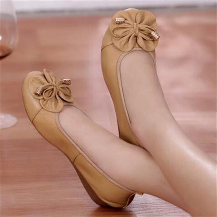Chaussure Femme Cuir Printemps Été Comfortable Mode Chaussures BLKG-XZ067Blanc39 TLnjshAj