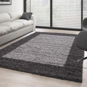 tapis tapis de salon shaggy pile longue designe 2 couleu - Tapis Gris