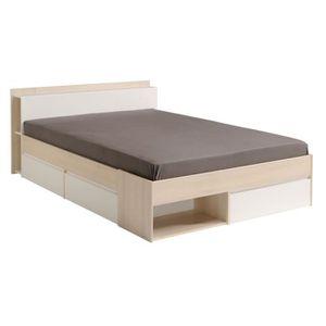 STRUCTURE DE LIT Cadre de lit à tiroirs + Tête de lit 140*200 Acac