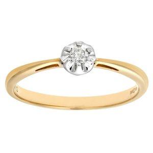BAGUE - ANNEAU Revoni Bague Solitaire Diamant Or Jaune 375° Femme