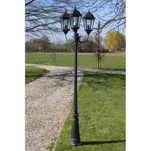 LAMPE DE JARDIN  Lampadaire extérieur triple 230 cm Vert foncé-Noir