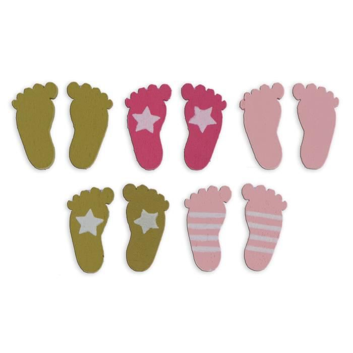 Toga pack de 26 confettis bois pieds rose et vert