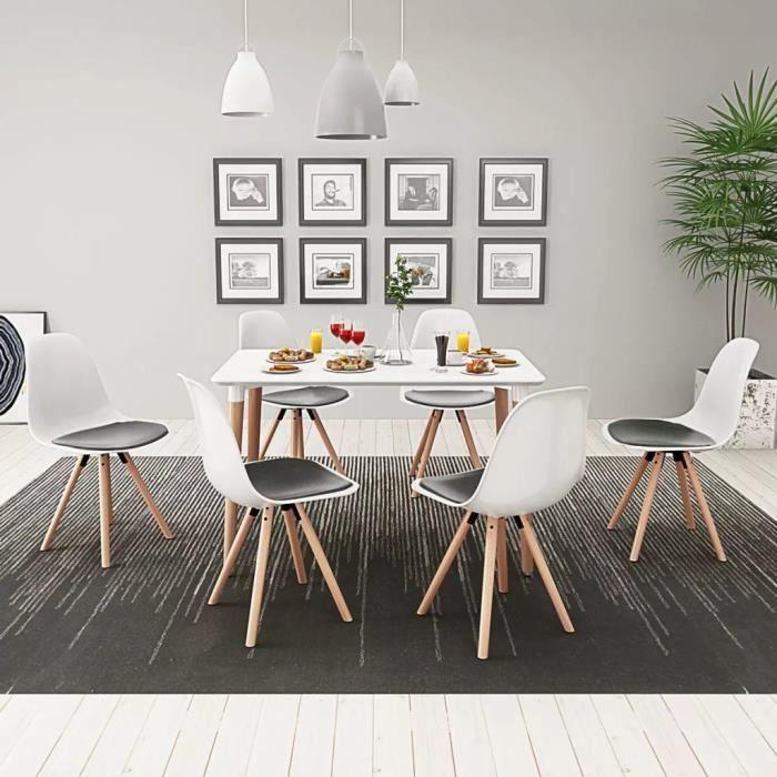 Ensemble Table à Manger Avec Chaises Blanche 7 Pieces En Bois De