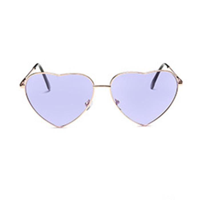 Lunettes de soleil mixte homme et femme de Fashion En forme de coeur sunglasses Métal Cadre Violet clair