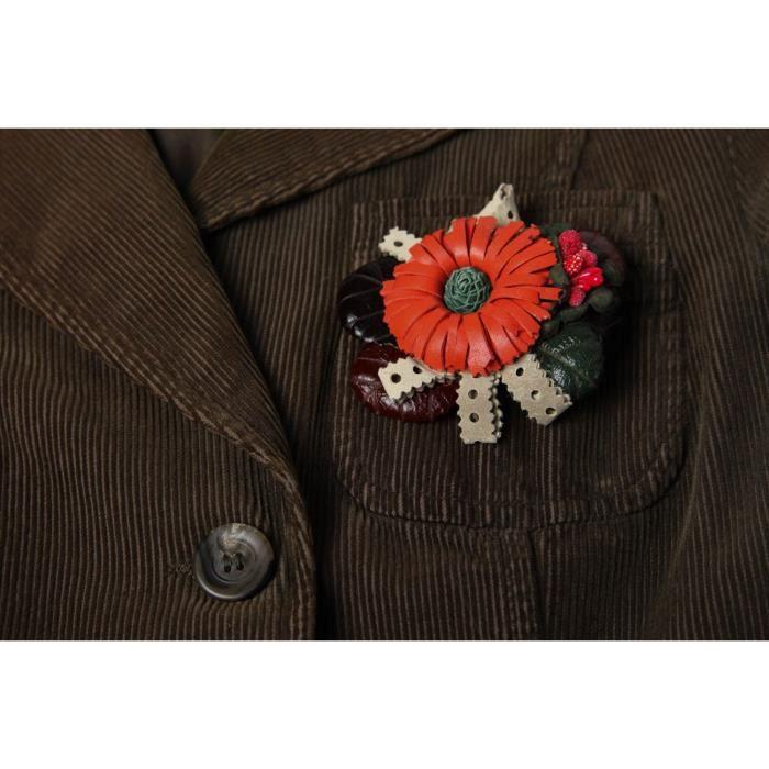 Broche Barrette en cuir faite main fleur rouge design Accessoire femme  -926479821 a7b5dc476f1