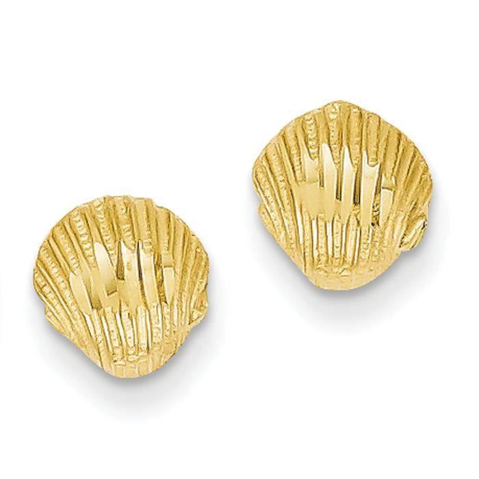 14 carats-diamant taillé-Boucles doreille coquillage