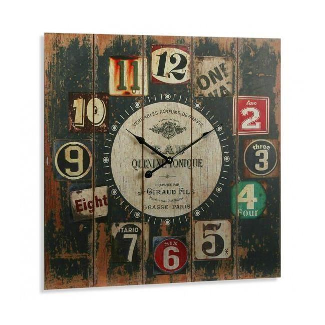 grande horloge murale carr e en bois vintage achat. Black Bedroom Furniture Sets. Home Design Ideas
