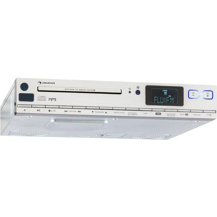 auna kcd-20 - radio de cuisine encastrable avec lecteur cd, port