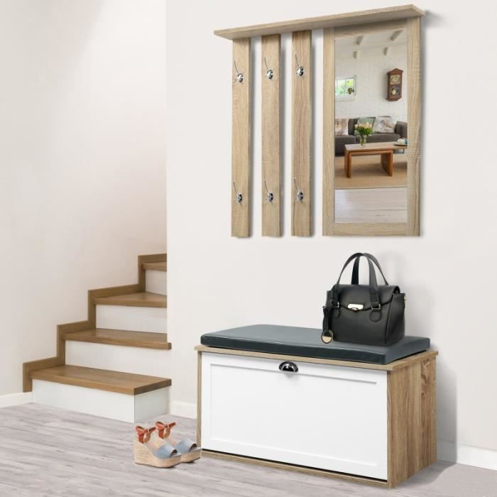 MEUBLE D'ENTRÉE Vestiaire d'entrée Luxe en bois blanc et hêtre meu