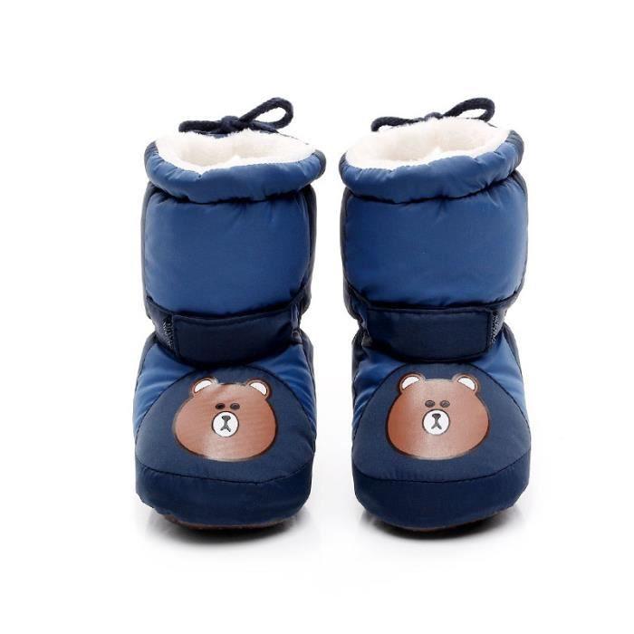 Bottes de neige bottine Bébé d'hiver Chaussure de Bébé Fille et Garçon premier pas en coton Taille Unique 0-6-12 mois Marron Ours 2kArgCFQto