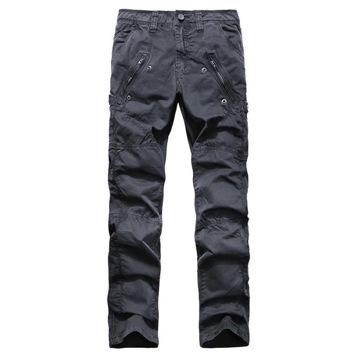 1 46Gris Slim Homme Foncé46 Pour Cargo Tan Marque Pantalon TFHGSPT Luxe Coton 3258 Fit Décoration Gray Multi poches Zipper M2064 gqgwUr