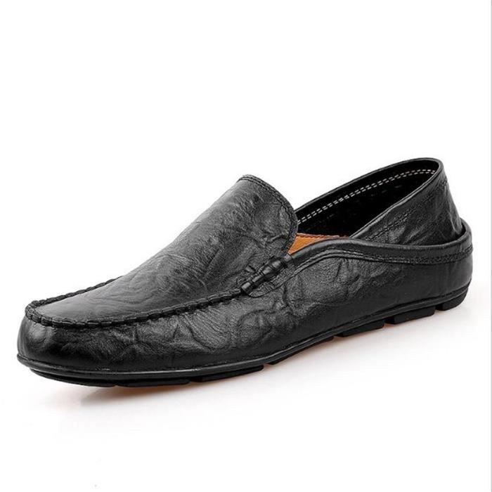 Mocassins Hommes Cuir Printemps Ete Leger Mode Plat Chaussures DTG-XZ078Noir38 v2jsMKo