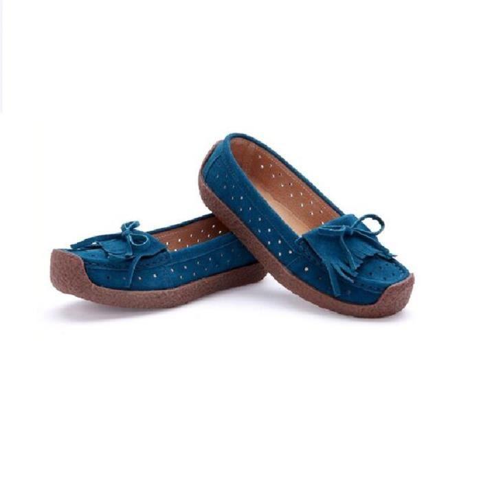 Moccasin Femme Mode Série printemps et automne Moccasins Antidérapant Haut qualité Rétro Loisirs Chaussure Gland Azur 35