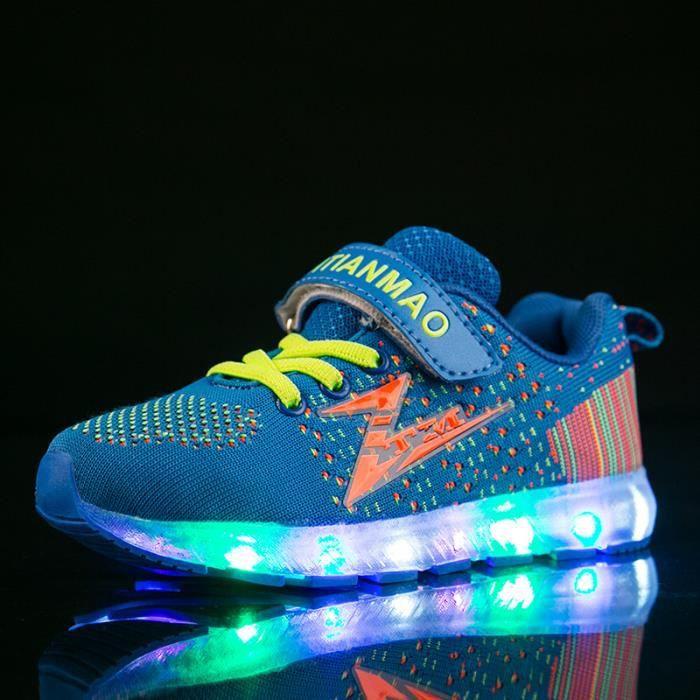 Baskets Enfants chaussures Garçons Fille LED lumières 7 Couleur USB Chaussures sportswear PmF6Fn