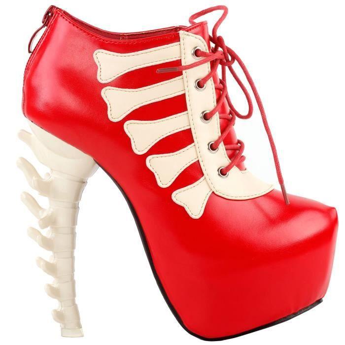 Punk Beige Two Tone Lace Up Bone Heels Platform Ankle Boots,lf80649 VVQDZ Taille-40