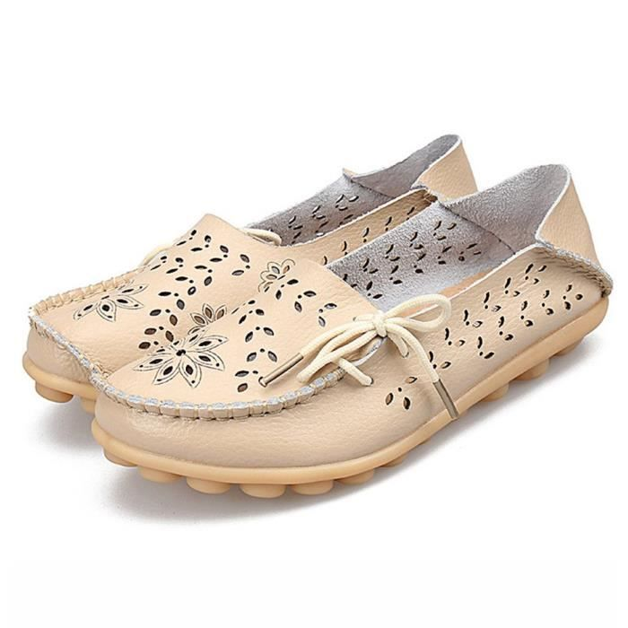Leather Moccasins Loafers Driving Casual Shoes Indoor Flat Slip-on Slippers MJ887 Taille-36