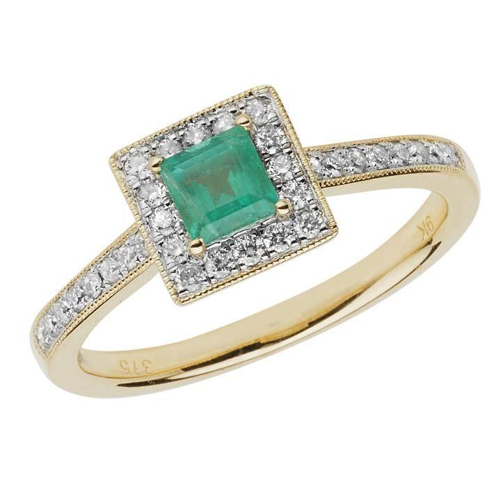 Bague Femme Pavage Or 375-1000 et Diamant Brillant 0.25 Carat HI - I1 avec Emeraude 30295