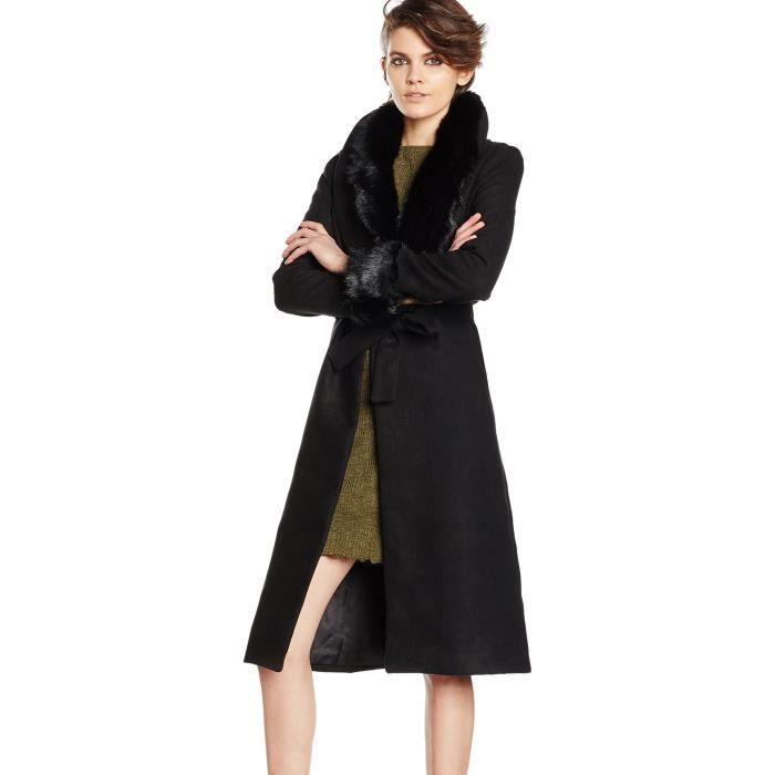 3ikaxc Veste 34 Ceinturée Taille Bordure Ria Fourrure Femme Robe En wP06WfOXxq