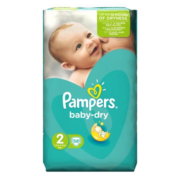 Pampers Baby Dry Format Pack Géant 3 à 6 Kg Bébé Mixte 58