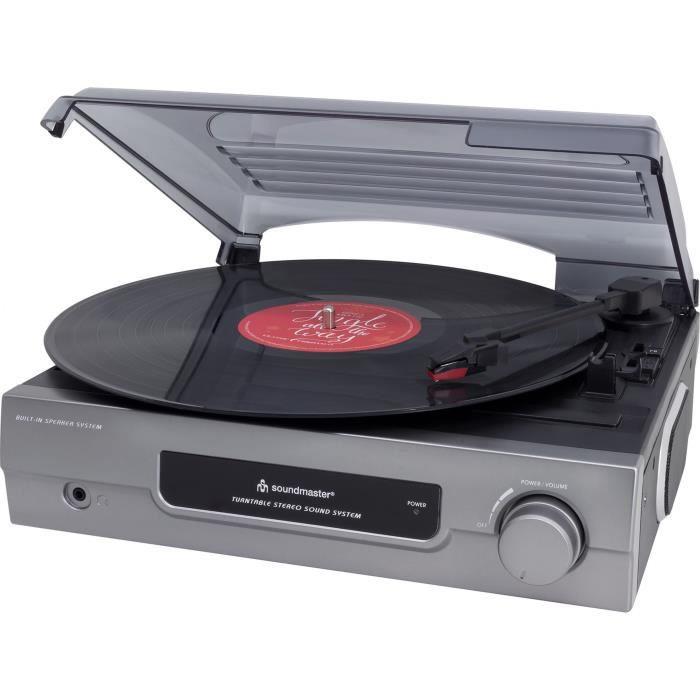 Soundmaster Pl200 Lecteur De Disque Vinyle Chansons Noël - Gris
