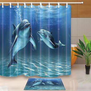 Rideau de douche dauphins achat vente pas cher - Rideau pour salle de bain ...