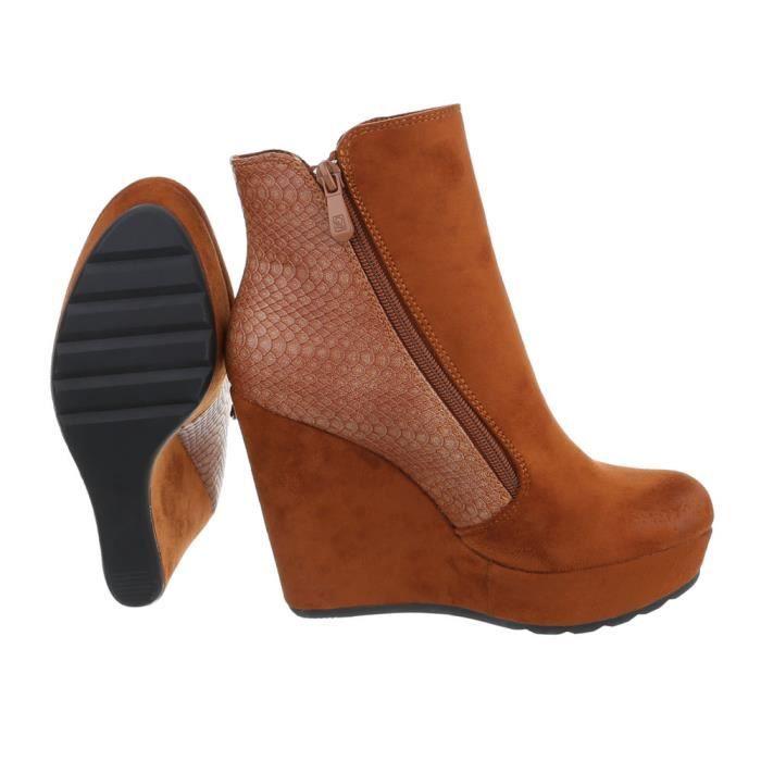 Chaussures femme bottine semelle compenséePlateau Bottes Camel 40