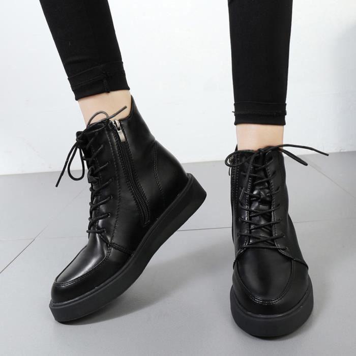 Appartement Chaussures Beguinstore Solide Impermables Des Couture Avec Noir Lacent Bottes Martin love2945 Femme aOqRHx8wqd