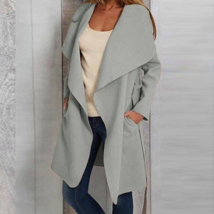 Avant gris Longues Manteau Outwear Manches Haut Pour Femmes Caban Ouvert Veste Costume Cardigan wgR4qHq