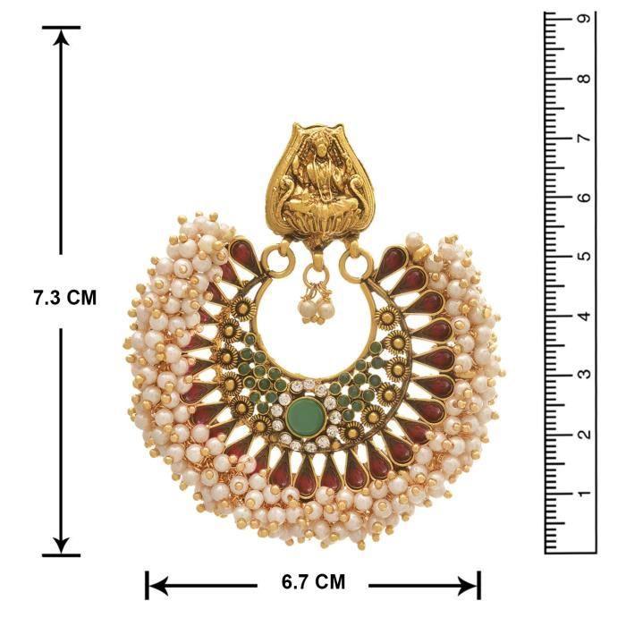 Femmes Jfl - Fusion ethnique traditionnel un gramme dor plaqué Cz américain diamant rose et vert pierre RQA7X