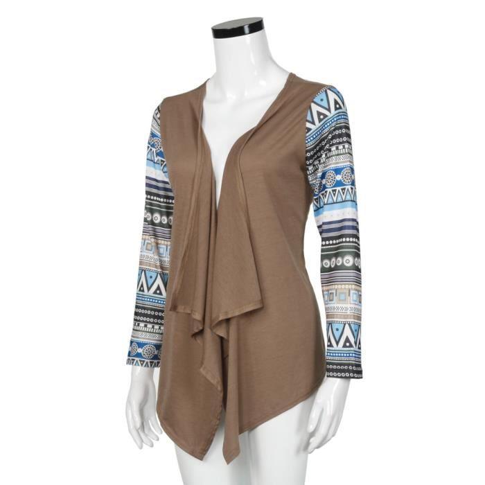 Femmes Modèles Outwear Longues Patchwork Cardigans Kaki Piquantes Géométriques Spentoper Casual TqBaAwwg
