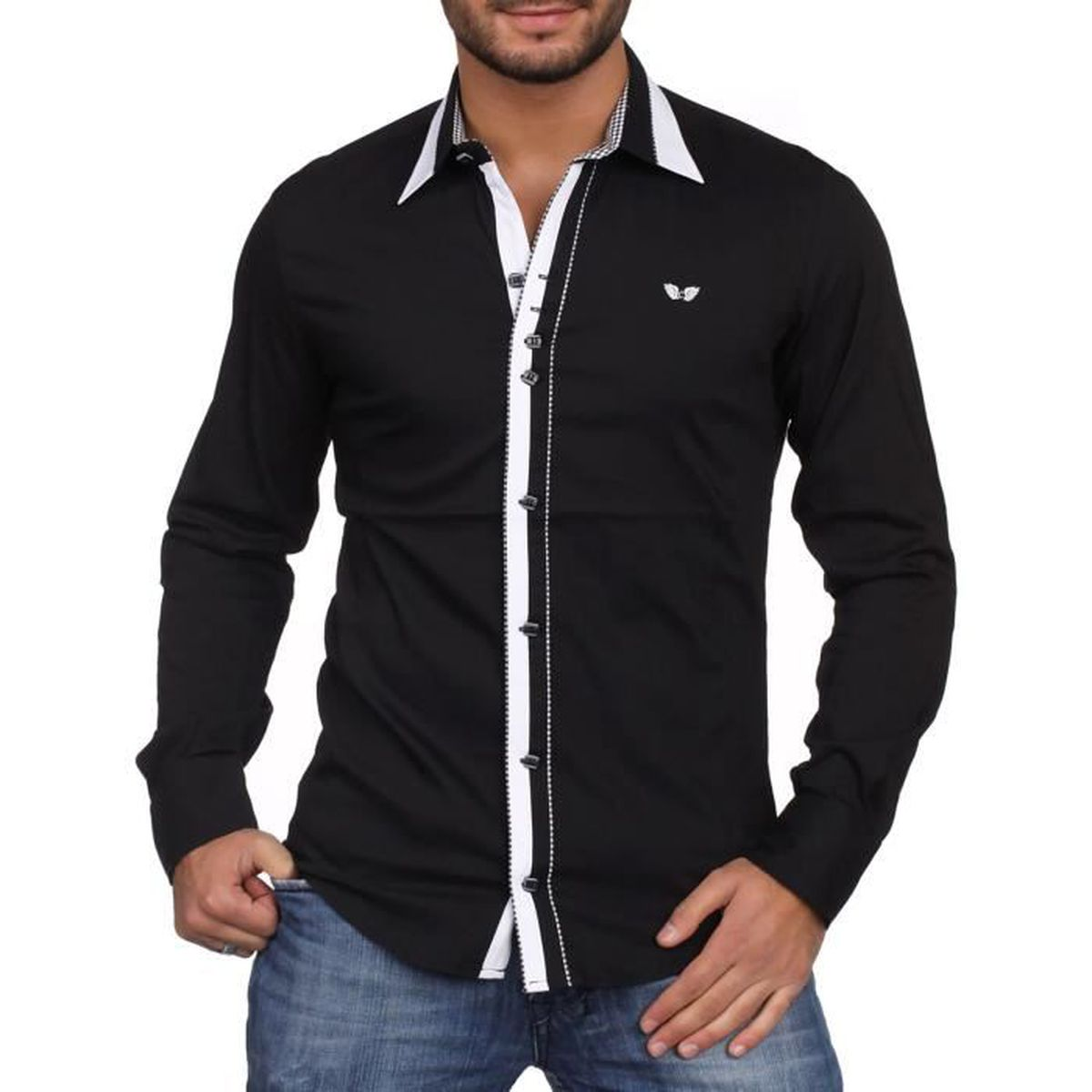 Carisma - Chemise noire col ital... Noir - Achat   Vente chemise ... f179bb17eaed