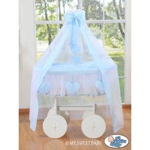 BERCEAU ET SUPPORT Berceau bébé osier blanc complet textile bleu avec