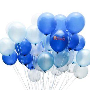 BALLON DÉCORATIF  PuTwo Bleu Blanc Ballon, 100pcs 12 Pouces Bleu Mar