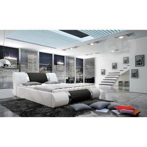 STRUCTURE DE LIT Structure de lit design Arlan blanc et noir  160x2