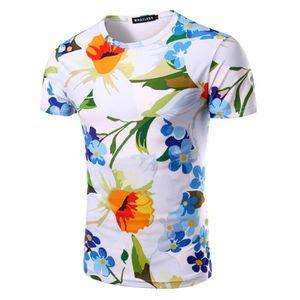 2ac7477b638b T-SHIRT T-shirt homme imprimé fleur la nouvelle mode