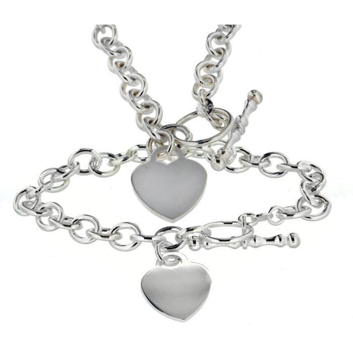 Femmes Argent Massif ovale coeur T-bar et chaîne Bracelet de 46 cm - 18 1F0FWN