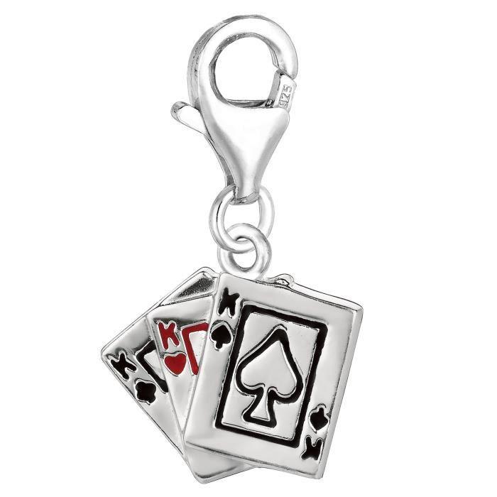 Charme- Argent sterling et émail attache sur Deck de cartes charme